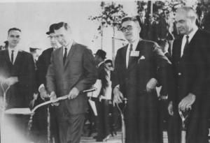 Gov. Carl Sanders, Lanier Tech Director John Lloyd, State Board of Education Chairman James Peter, Board of Regents Chairman James A. Dunlap, and College President Dr. Hugh Mills prepare to break ground at the site of Gainesville Junior College. (Photo courtesy of the Nighthawks Open Institutional Repository.)