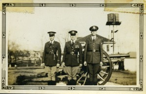 Cadets Levertte, Thomas Shope and Hunt in front of the cannon at North Georgia College in 1932. (Photo courtesy of the University of North Georgia Libraries.)